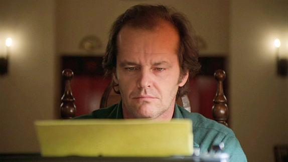 "The movie ""The Shining"", directed by Stanley Kubrick, based on the novel by Stephen King. Seen here, Jack Nicholson as Jack Torrance at a typewriter. Initial theatrical release May 23, 1980.  Screen capture. © 1980 Warner Bros. Credit: © 1980 Warner Bros. / Flickr / Courtesy Pikturz.  Image intended only for use to help promote the film, in an editorial, non-commercial context."